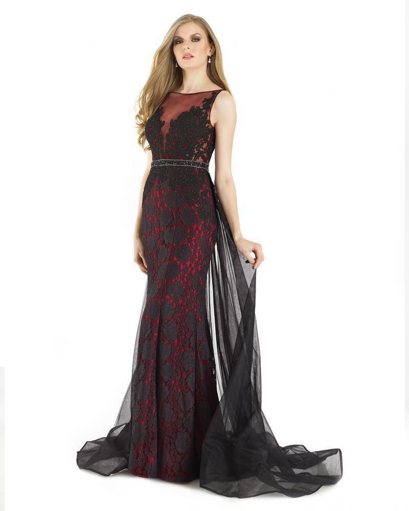 Morrell Maxie - 15927 Embellished Lace Illusion Bateau Sheath Dress