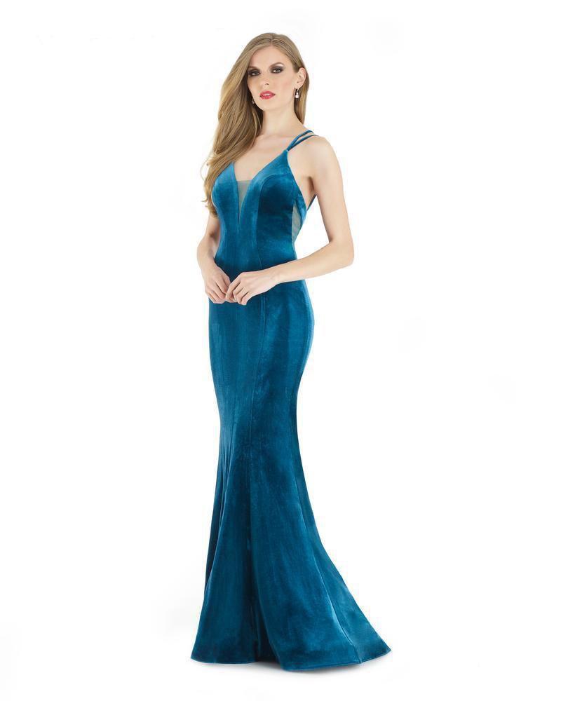Morrell Maxie - 15933 Sleeveless Velvet Deep V-neck Trumpet Dress