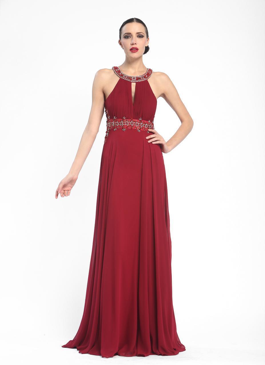Sue Wong - Beaded Halter Neck Chiffon A-Line Dress N5330