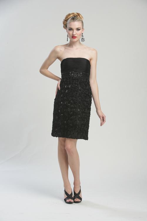 Sue Wong - N3204 Strapless Rosette Empire Sheath Dress
