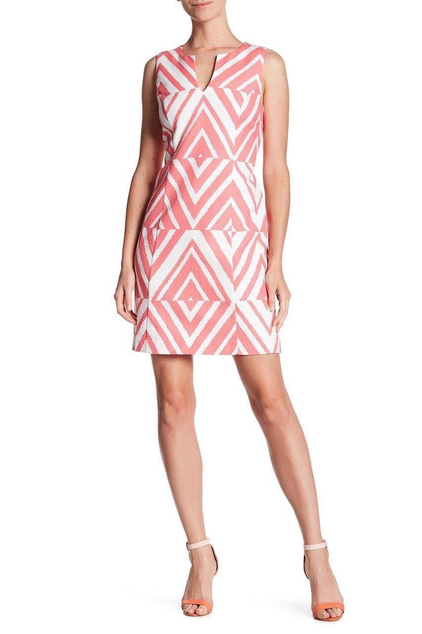 Taylor - 8773MX Sleeveless Chevron Print Cotton Dress