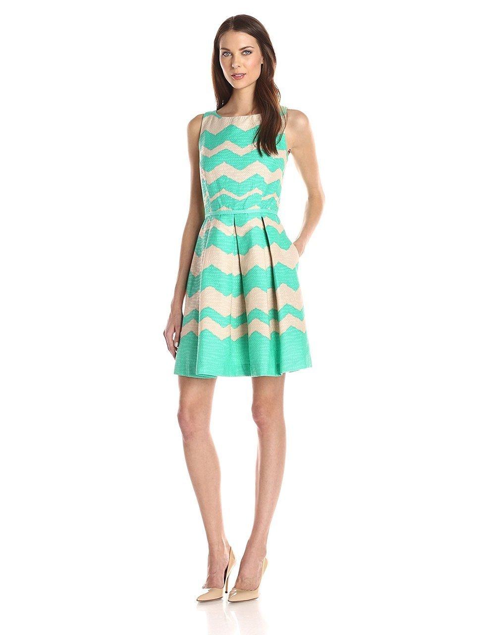 Taylor - Pleated Chevron Jacquard Dress 5445M