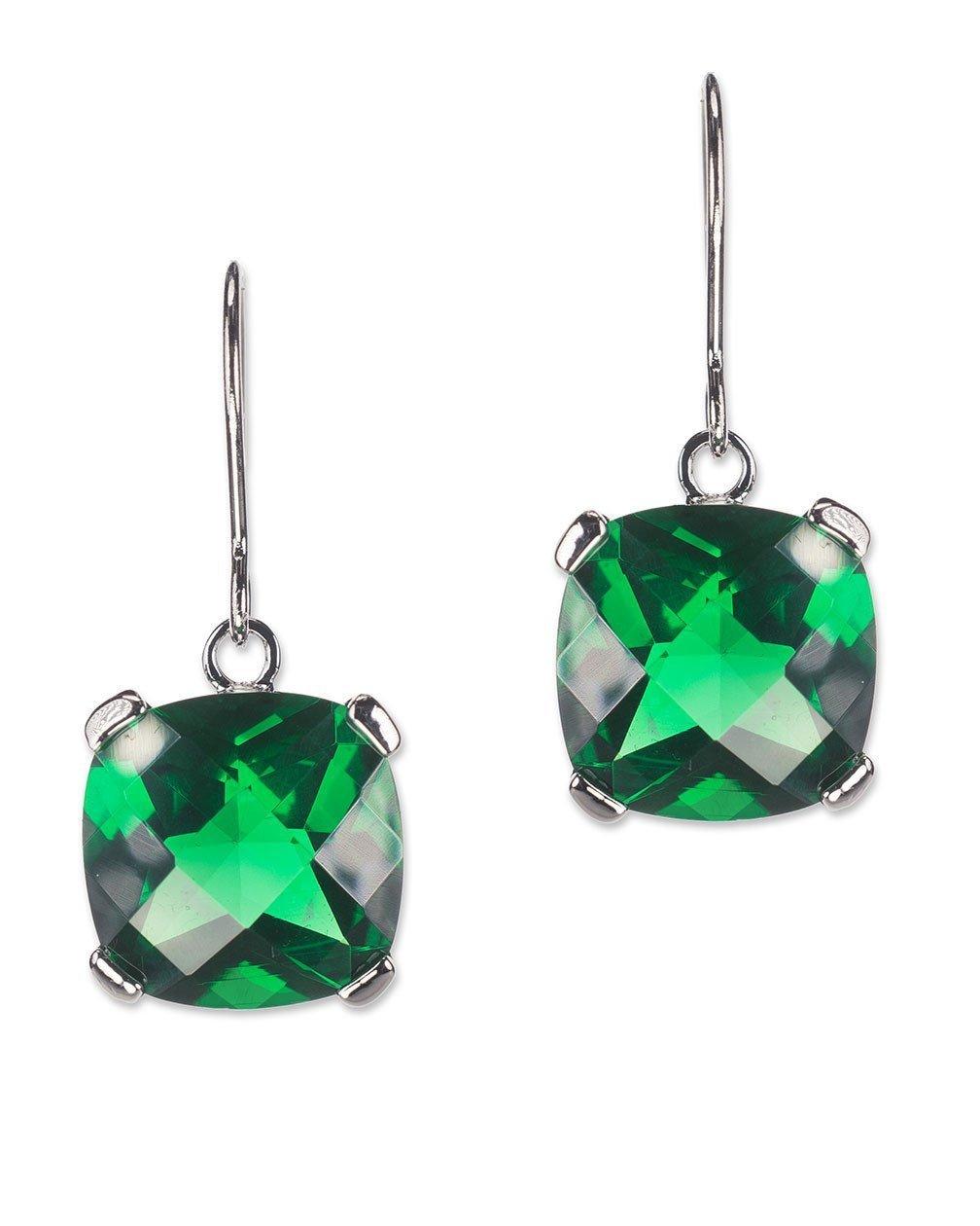 CZ by Kenneth Jay Lane - Emerald Cross Cut Cushion Drop Pierced Earring