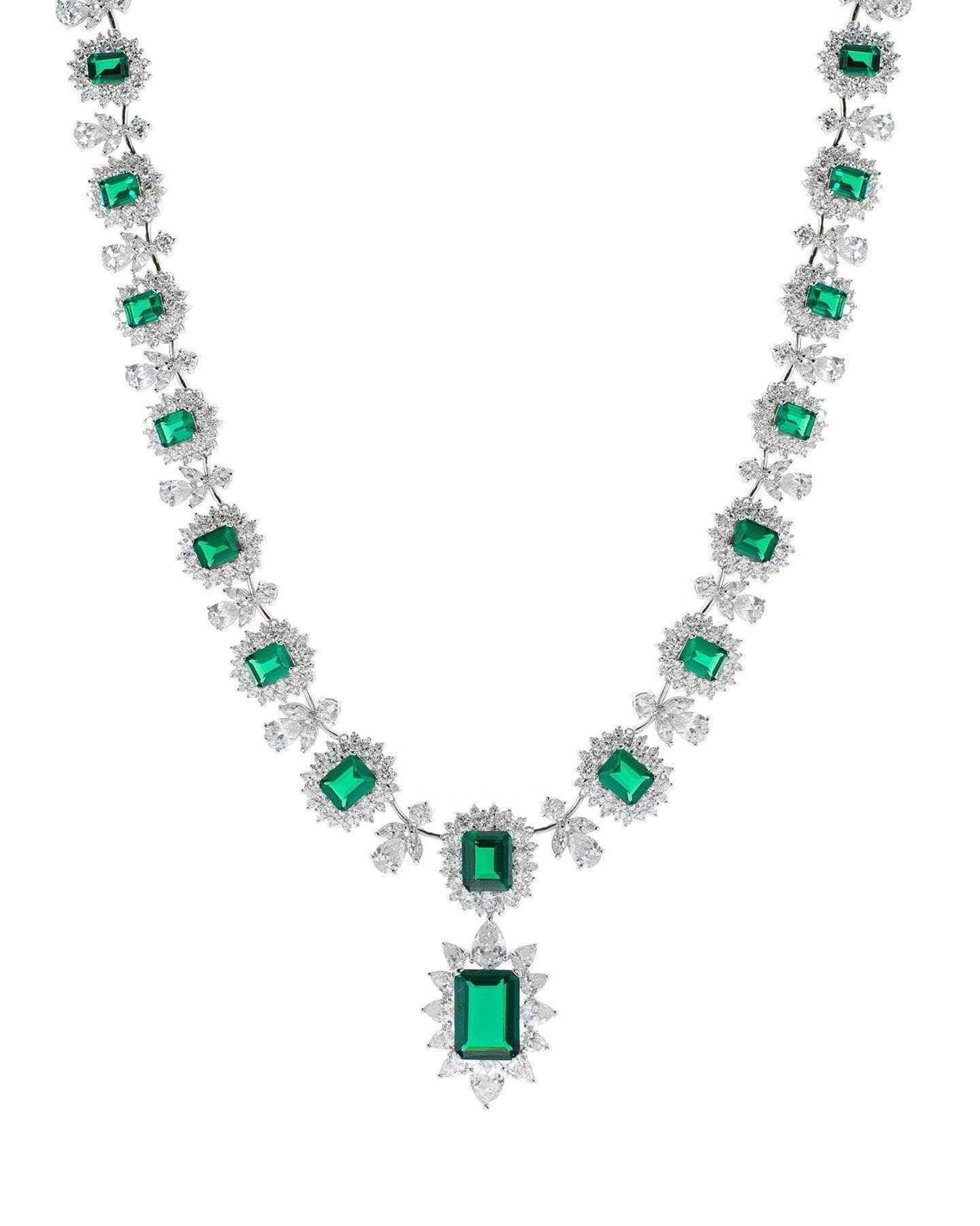 CZ by Kenneth Jay Lane - Emerald La Liz Statement Necklace