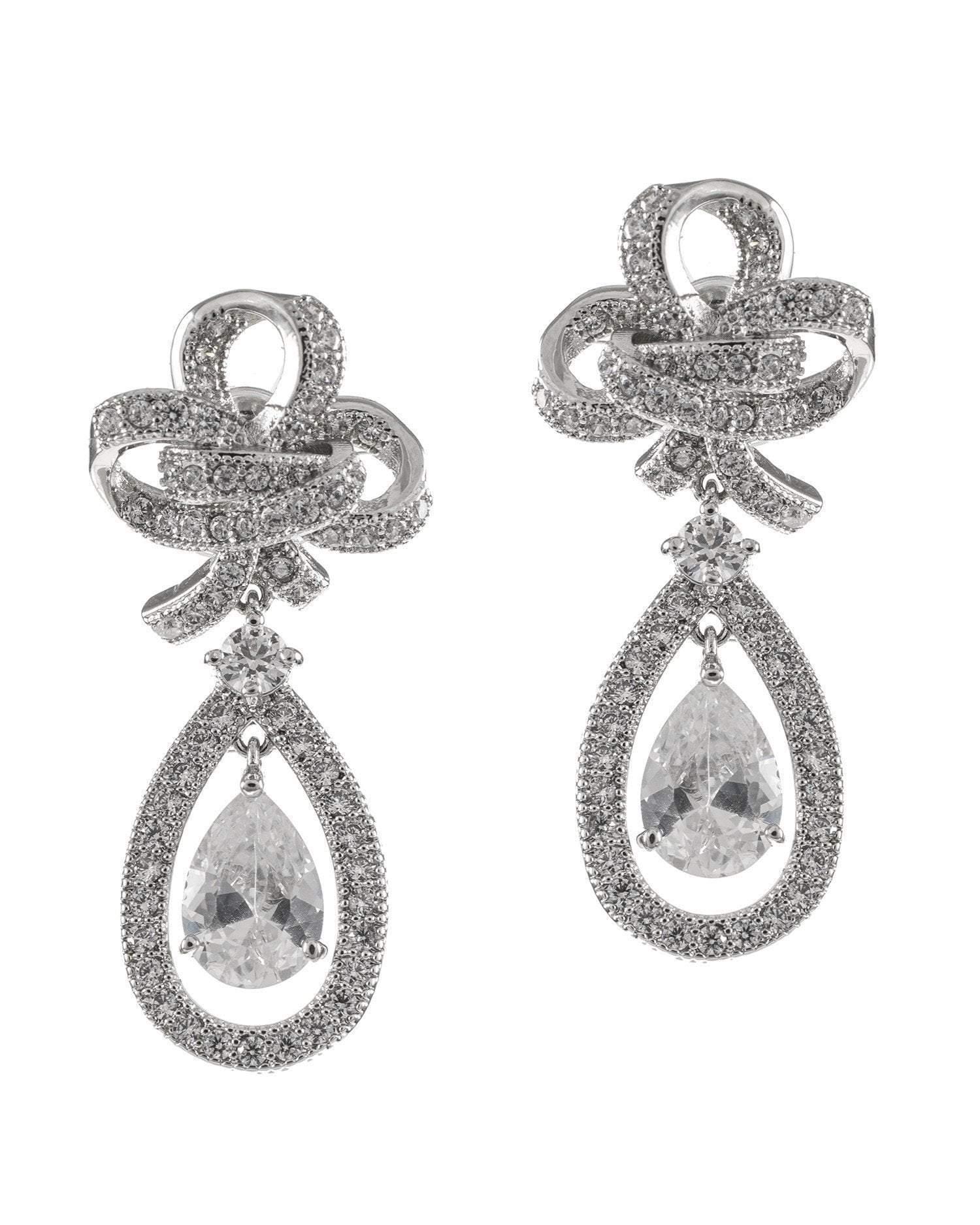 CZ by Kenneth Jay Lane - Glamorous Bow Pear Drop Earrings