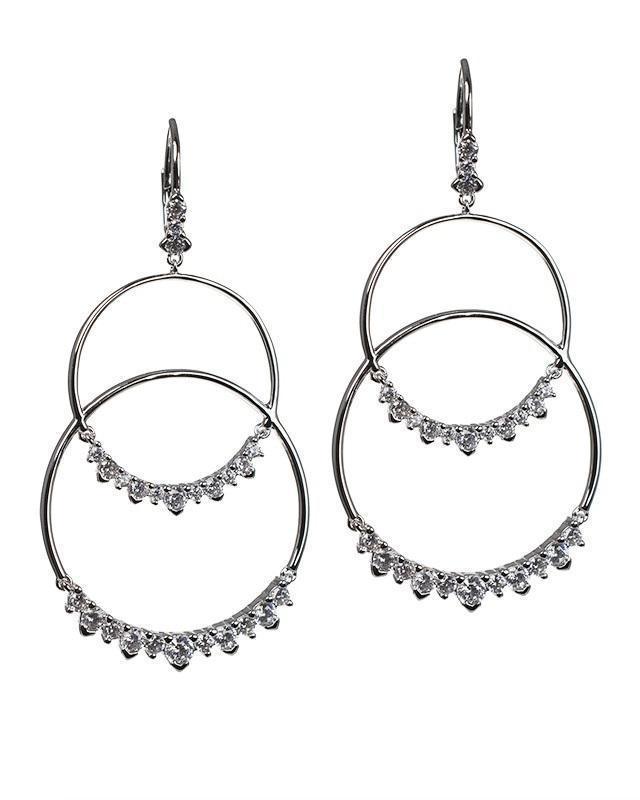 CZ by Kenneth Jay Lane - Open Circle Double Drop Earrings