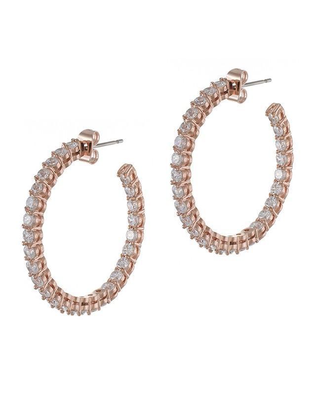 CZ by Kenneth Jay Lane - Rose Gold Inside Out Hoop Earrings