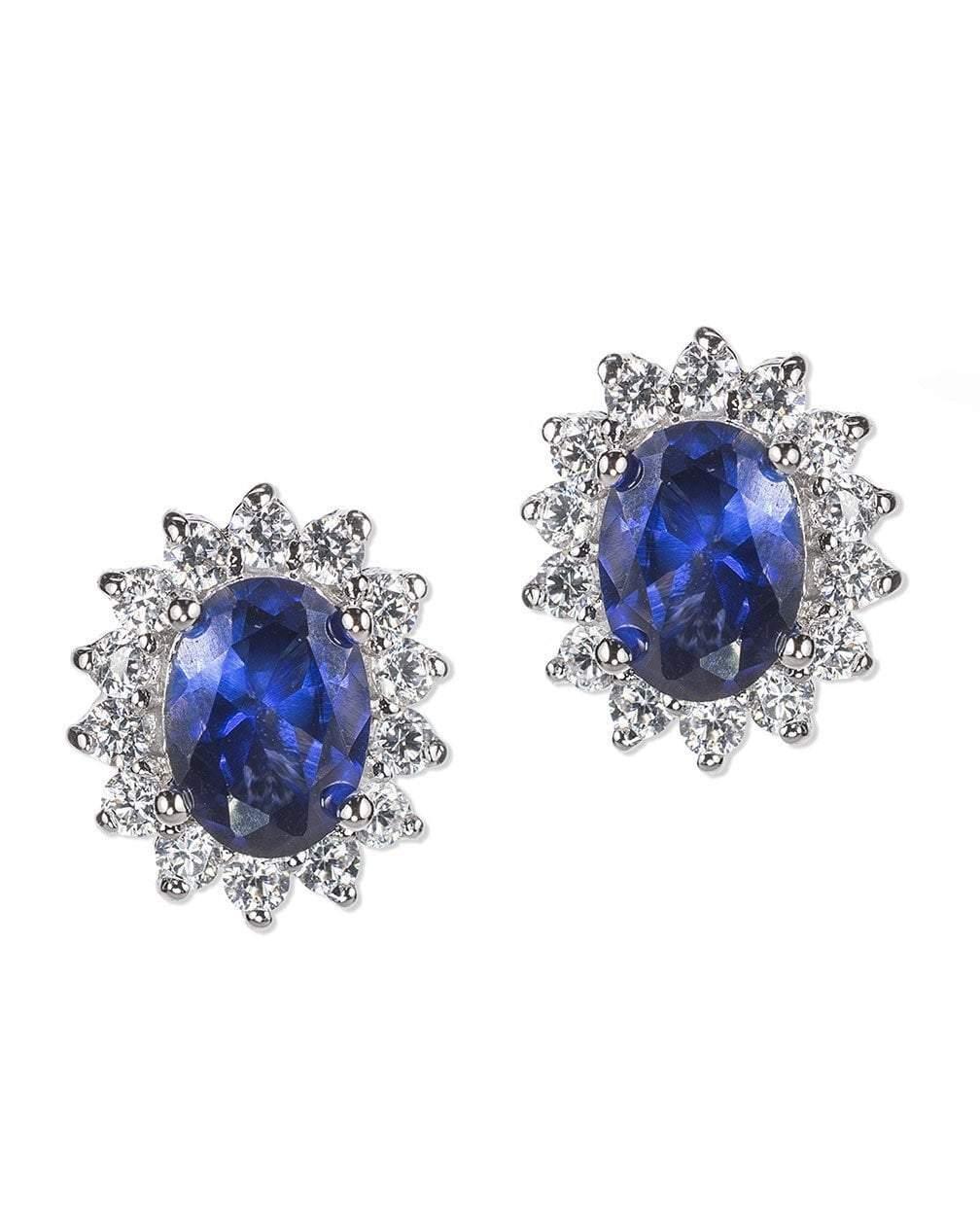 CZ by Kenneth Jay Lane - Sapphire Oval Halo Pierced Earring