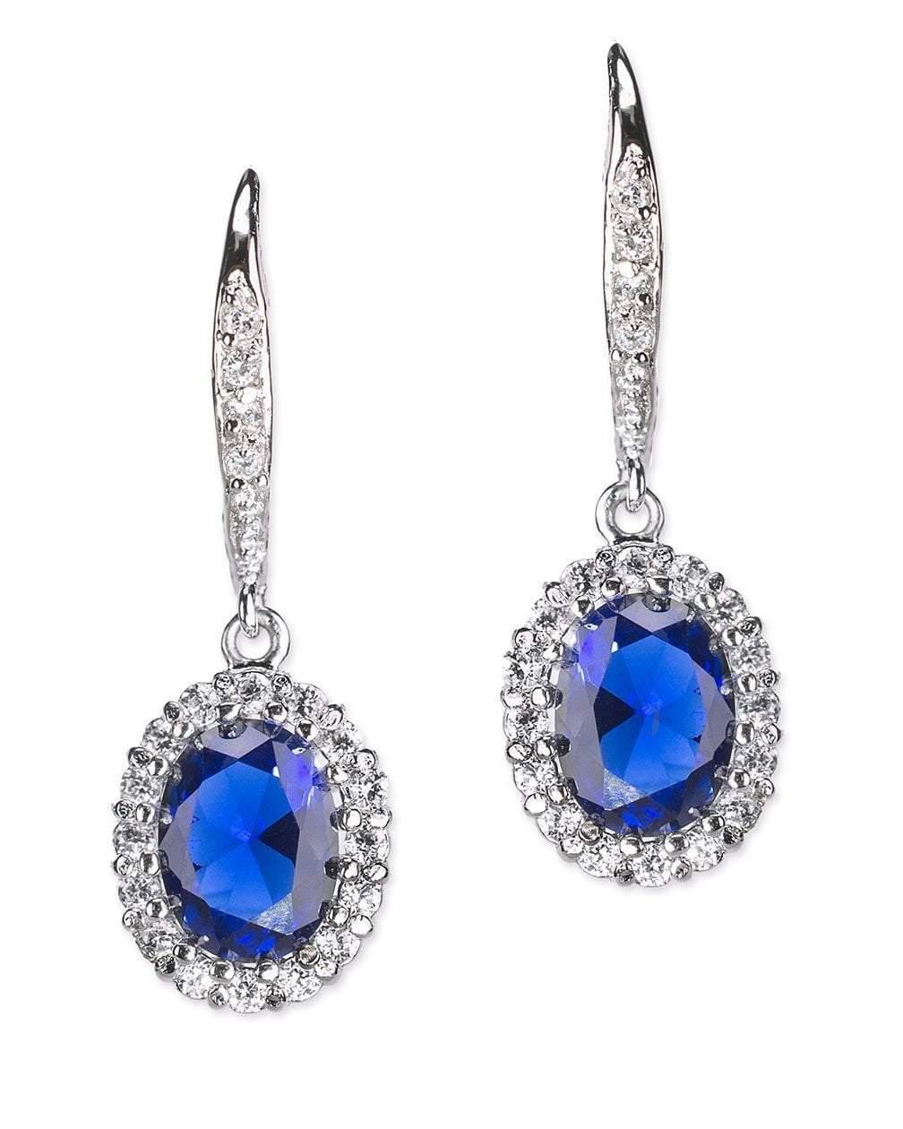 CZ by Kenneth Jay Lane - Sapphire Oval Pavé Halo Pierced Earring