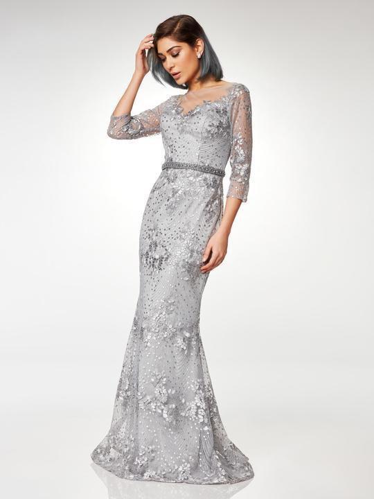 Clarisse - M6502 Quarter Sleeve Lace Appliqued Mesh Trumpet Gown
