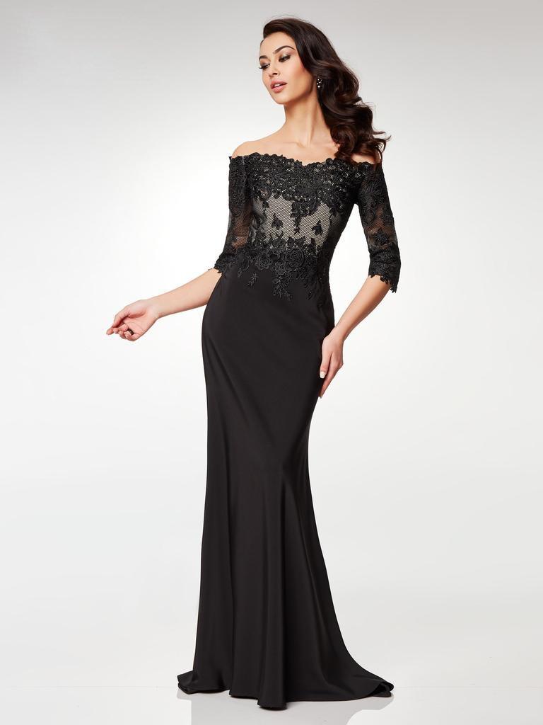 Clarisse - M6504 Lace Off-Shoulder Stretch Satin Trumpet Dress