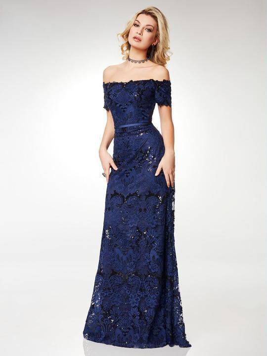 Clarisse - M6520 Off-Shoulder Lace Short Sleeves Evening Dress
