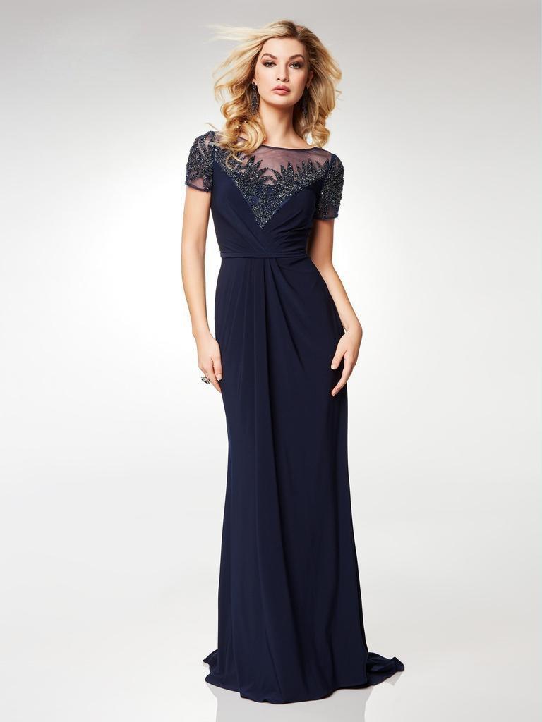 Clarisse - M6532 Illusion Neckline Gleaming Embellished Gown