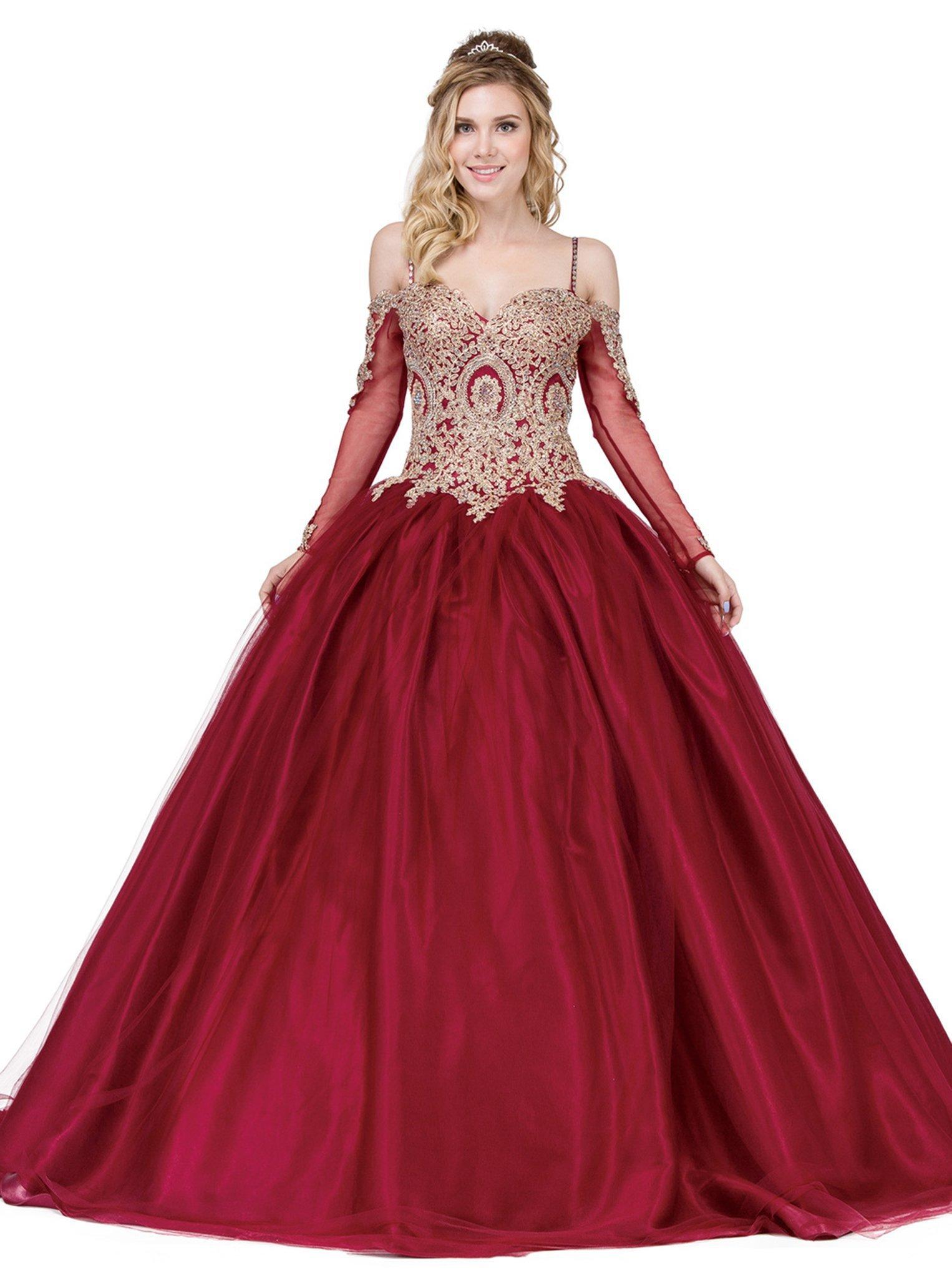 Dancing Queen - 1269 Gold Applique Sweetheart Quinceanera Ballgown