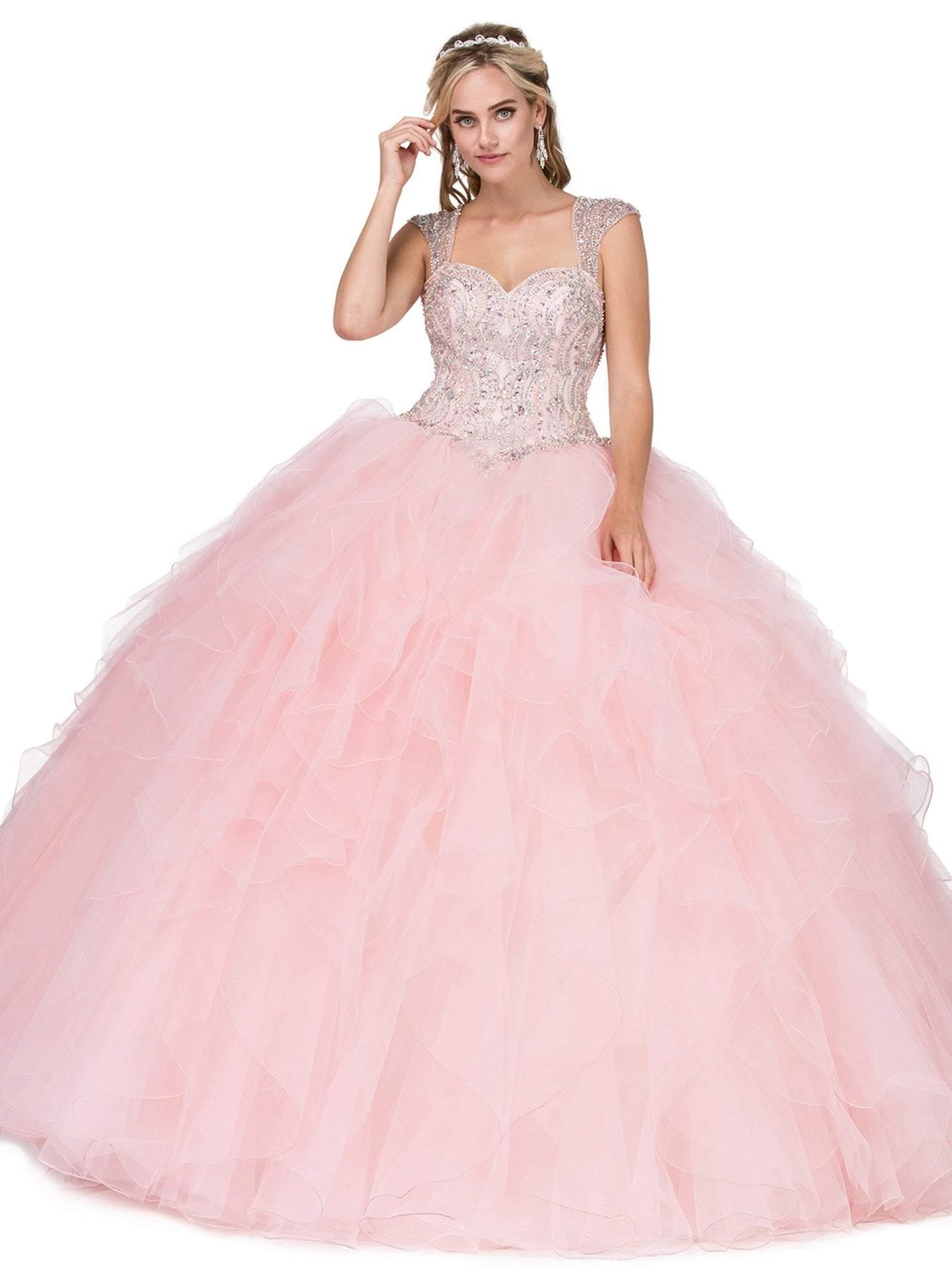 Dancing Queen - 1272 Beaded Sweetheart Ruffled Quinceanera Gown