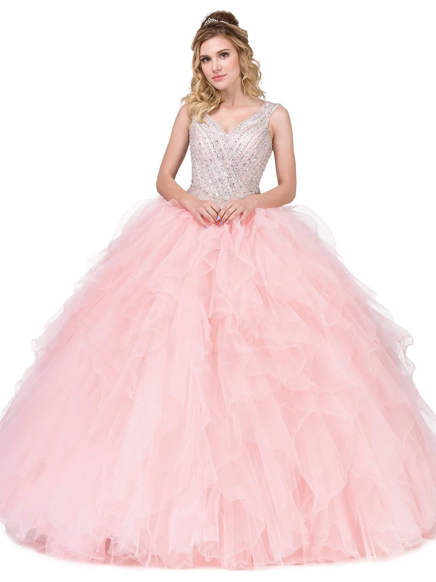 Dancing Queen - 1273 Crystal Adorned Cap Sleeve Quinceanera Ballgown