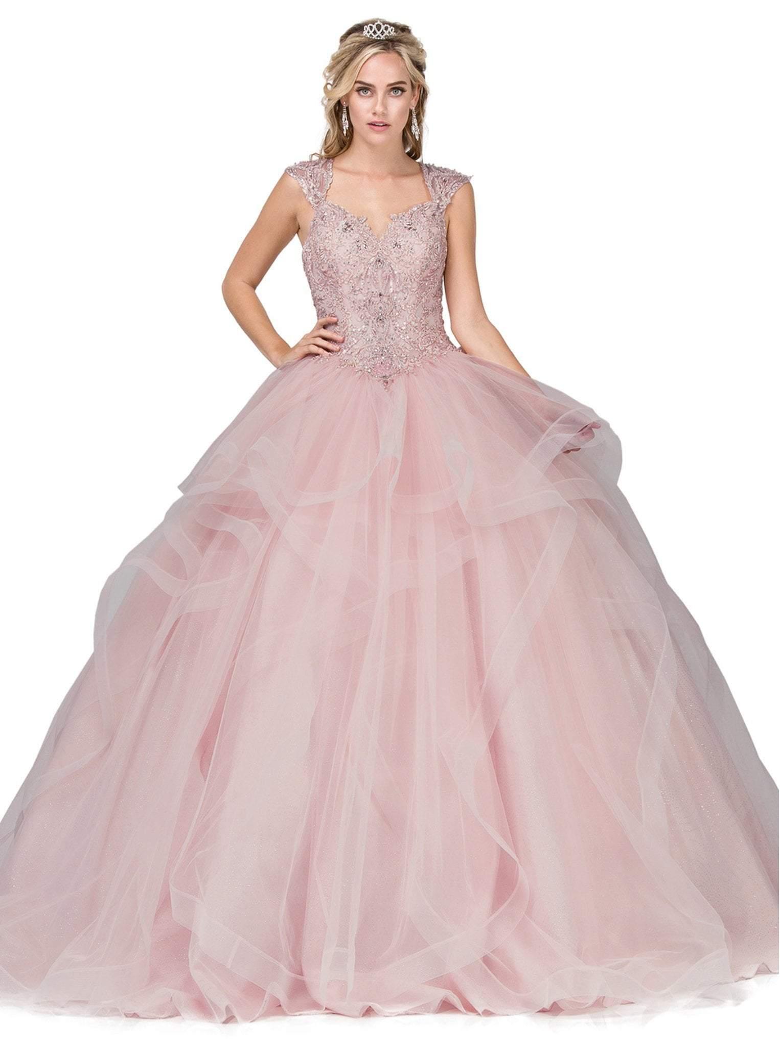 Dancing Queen - 1278 Sweetheart Cap Sleeves Ruffled Quinceanera Gown