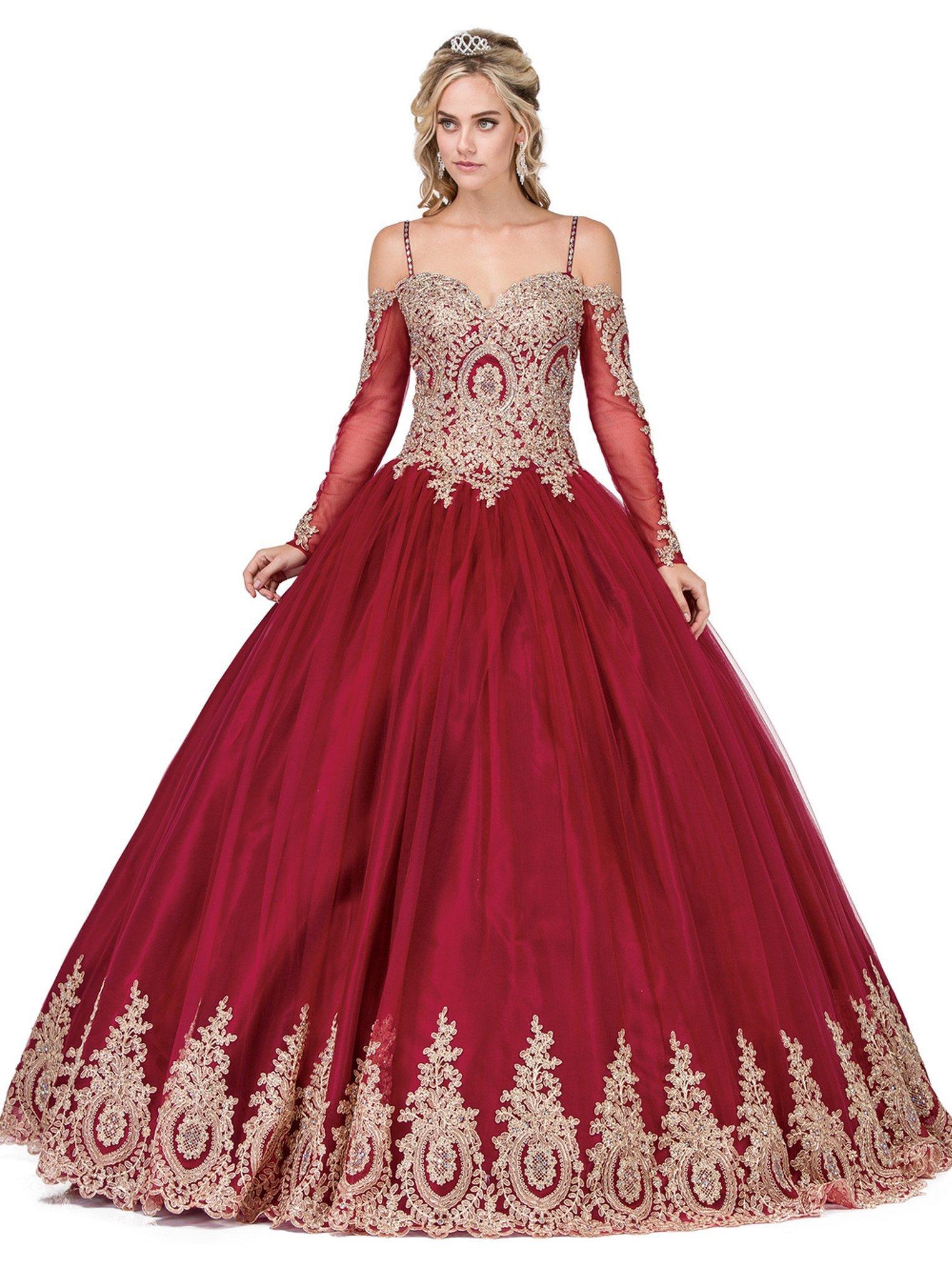 Dancing Queen - 1282 Appliqued Long Sleeves Quinceanera Gown