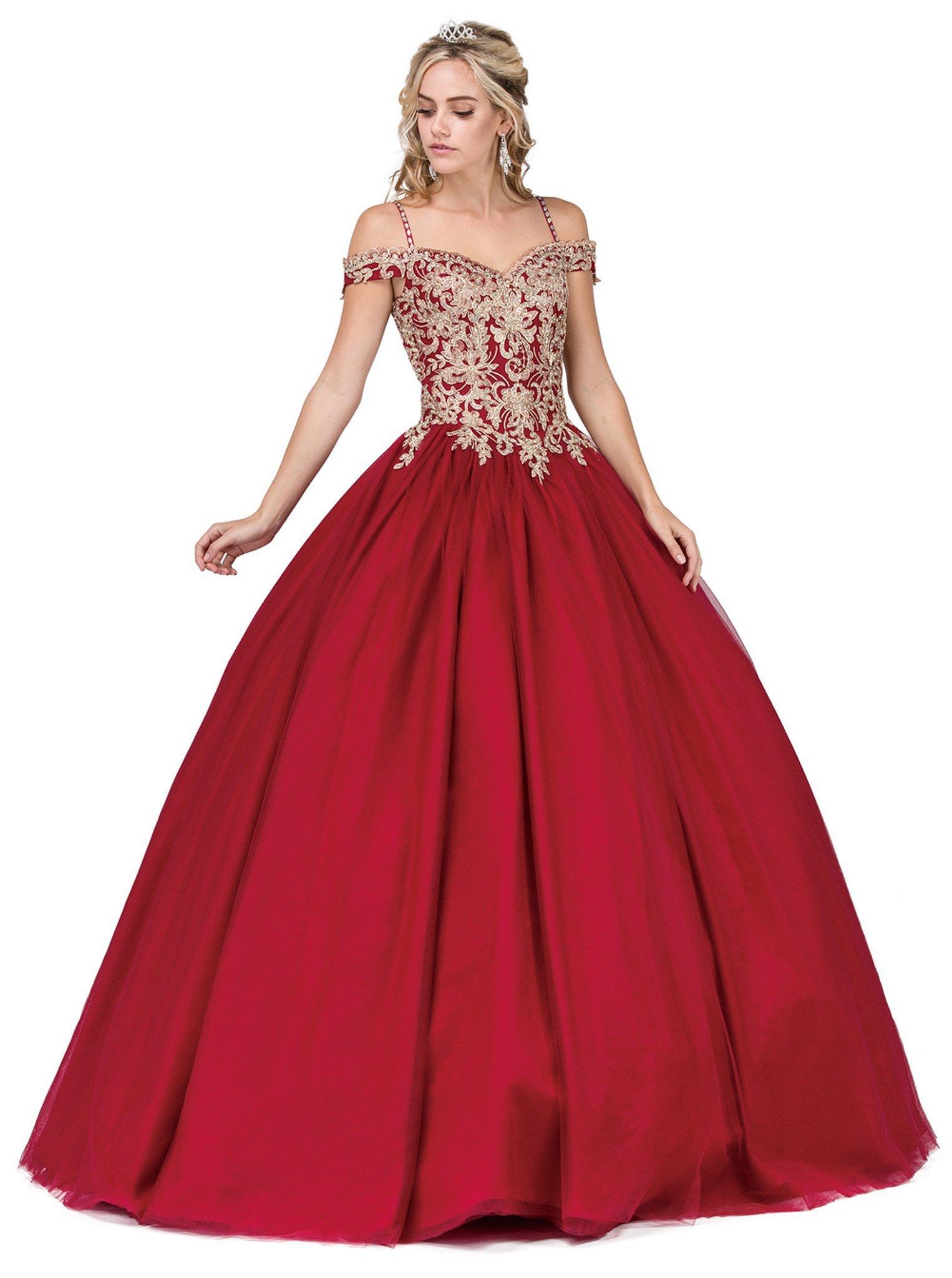 Dancing Queen - 1291 Appliqued Off-Shoulder Evening Gown