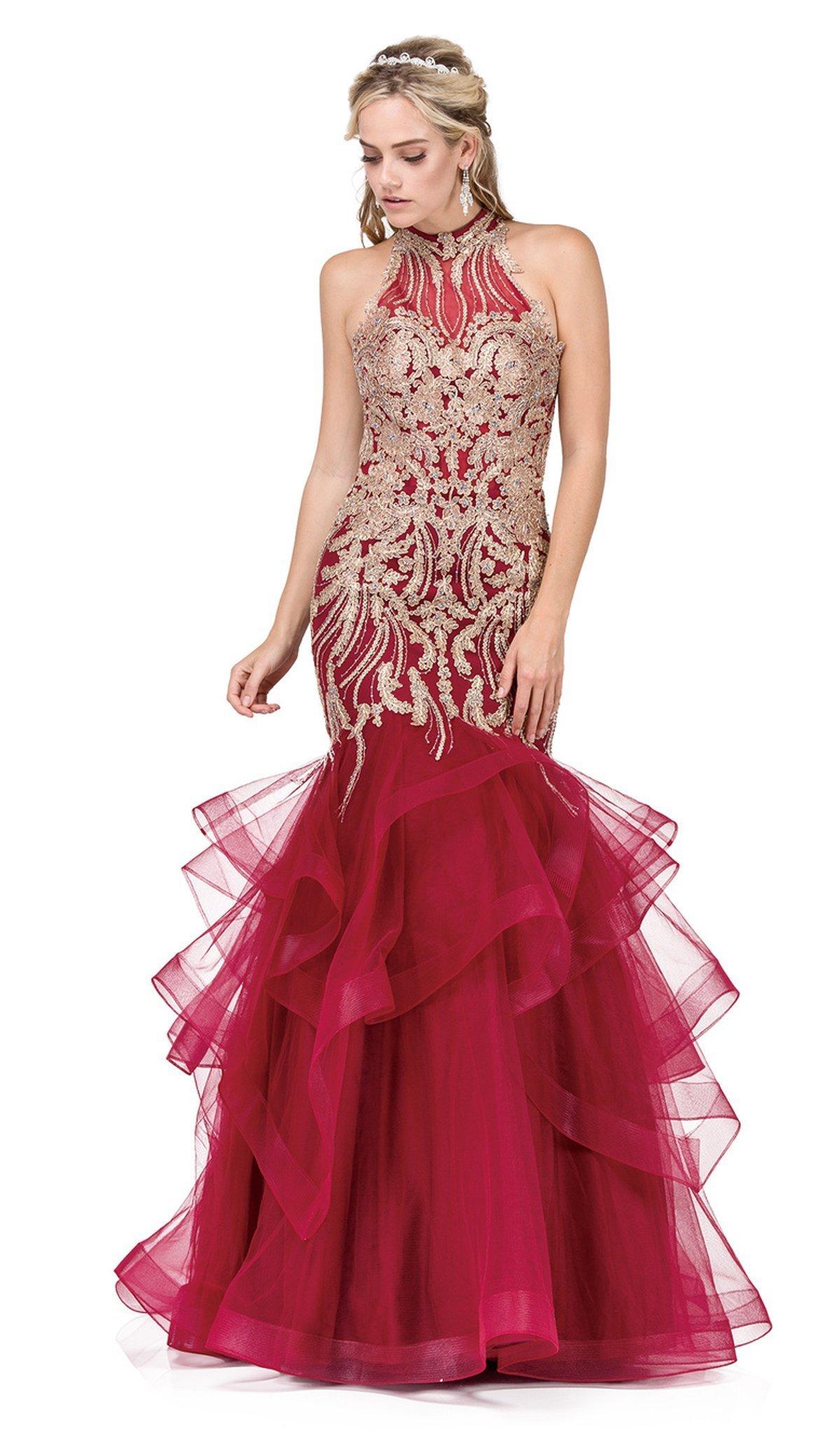 Dancing Queen - 2447 Gold Applique Halter Tiered Mermaid Prom Dress