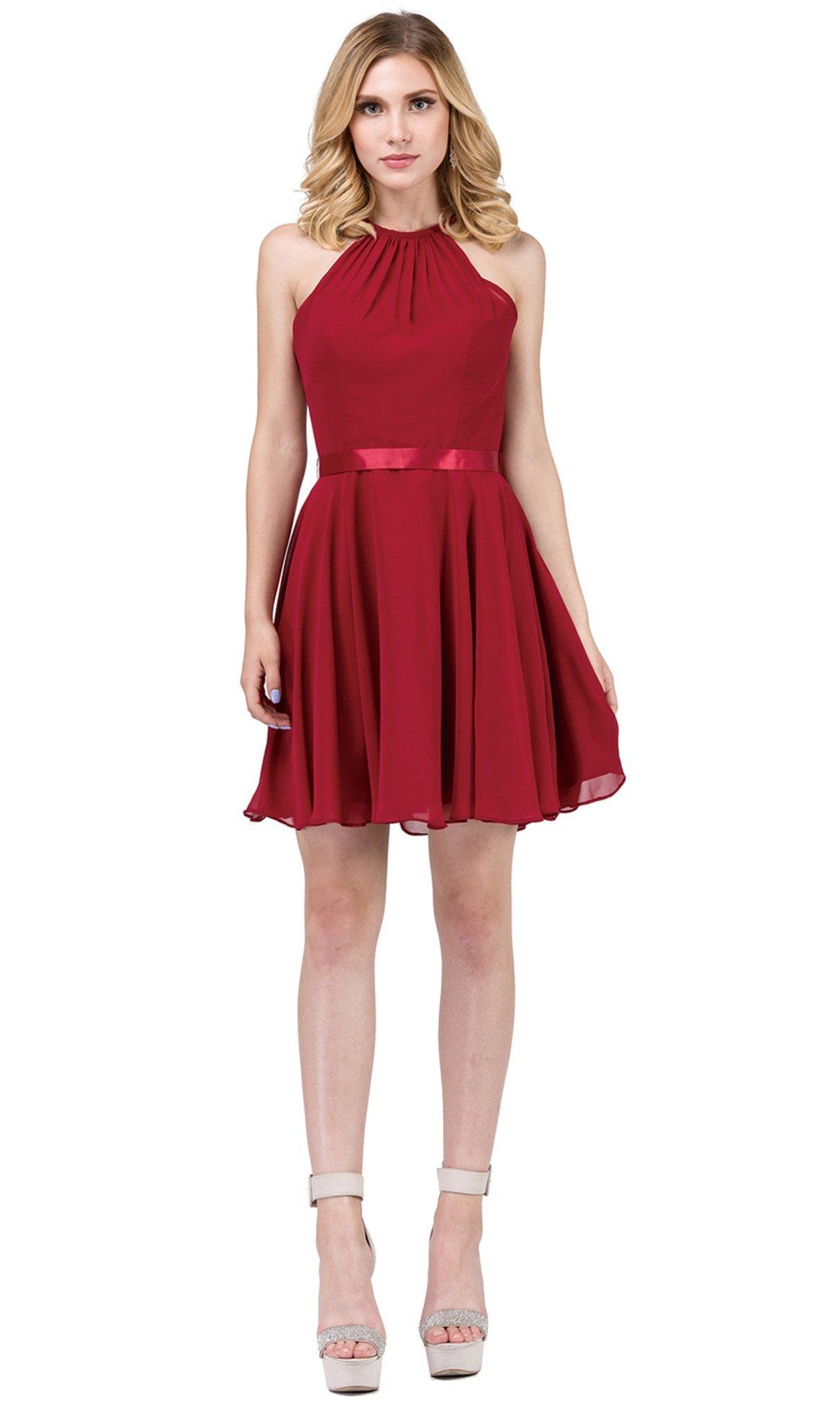 Dancing Queen - 3013 Halter Style Sleeveless Chiffon Cocktail Dress