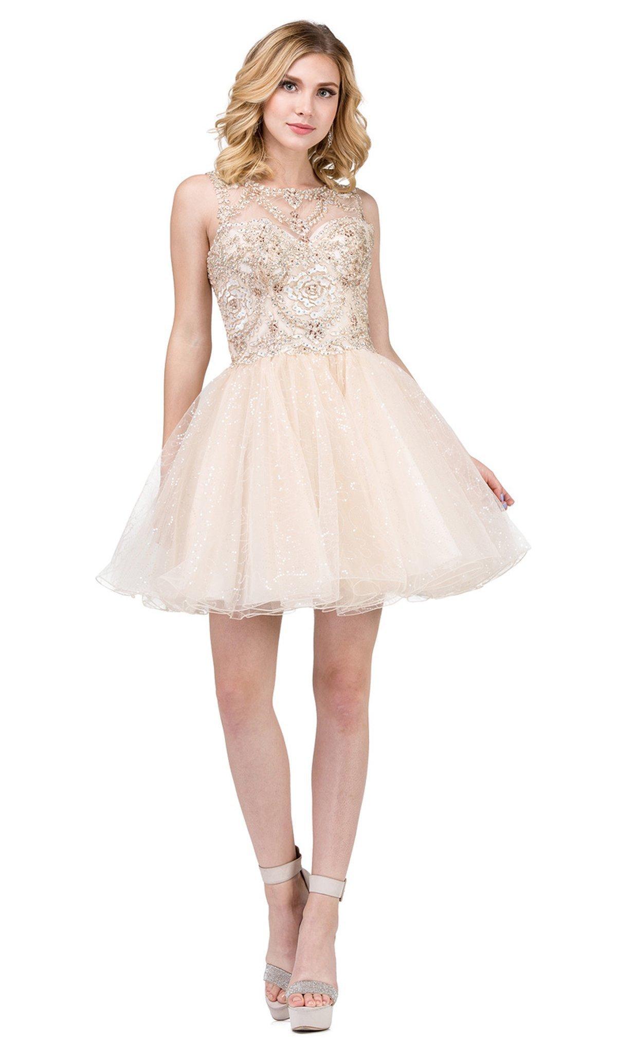 Dancing Queen - 3023 Embellished Scoop A-line Homecoming Dress