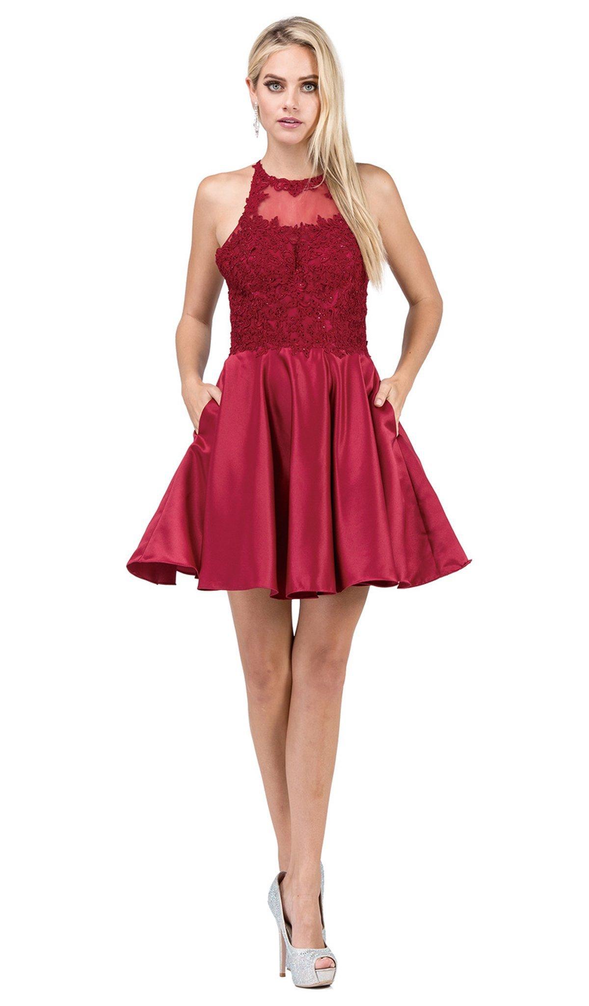Dancing Queen - 3028 Halter A-Line Homecoming Cocktail Dress