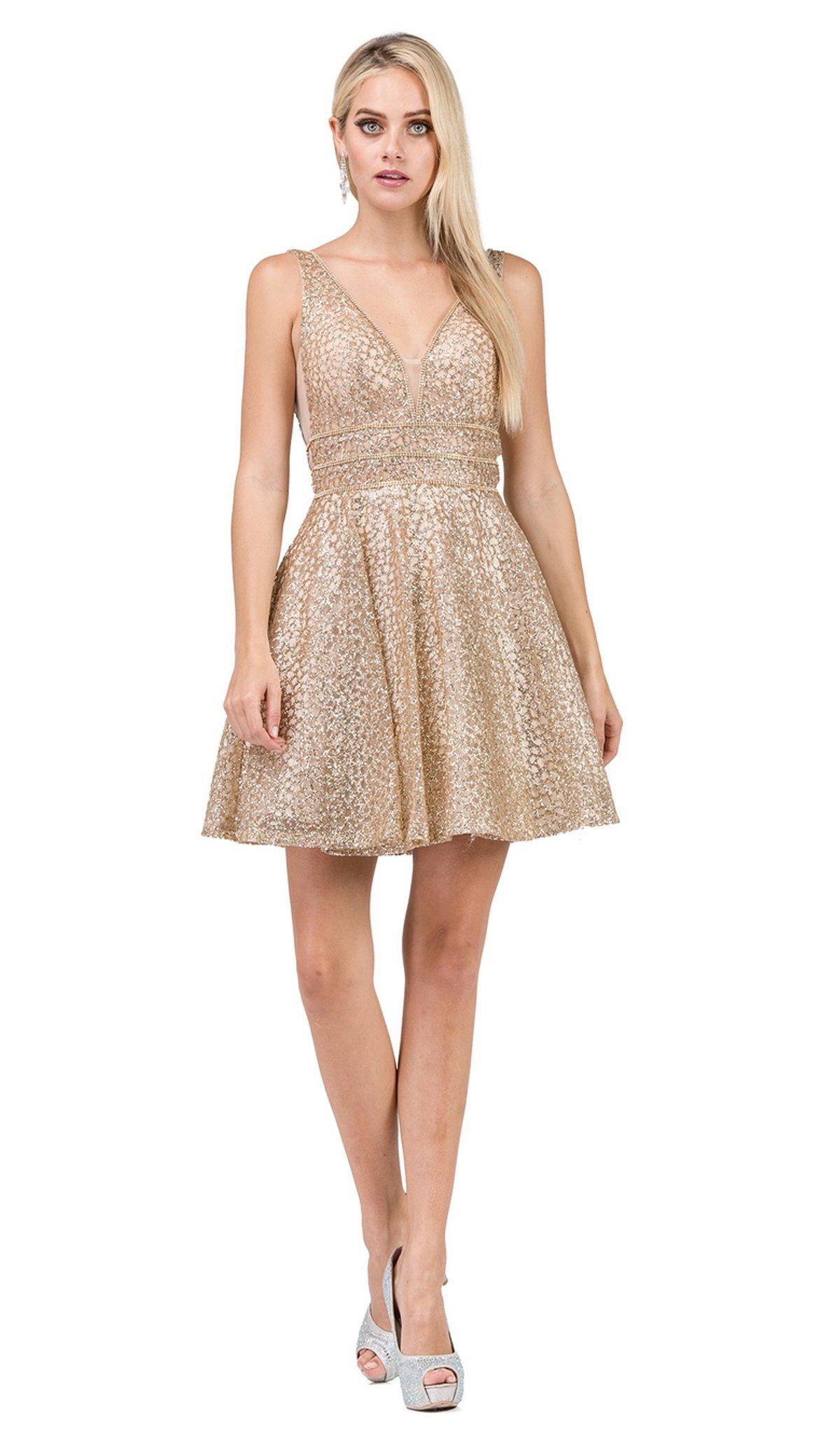 Dancing Queen - 3086 Illusion Cutout Sleeveless V Neckline Party Dress