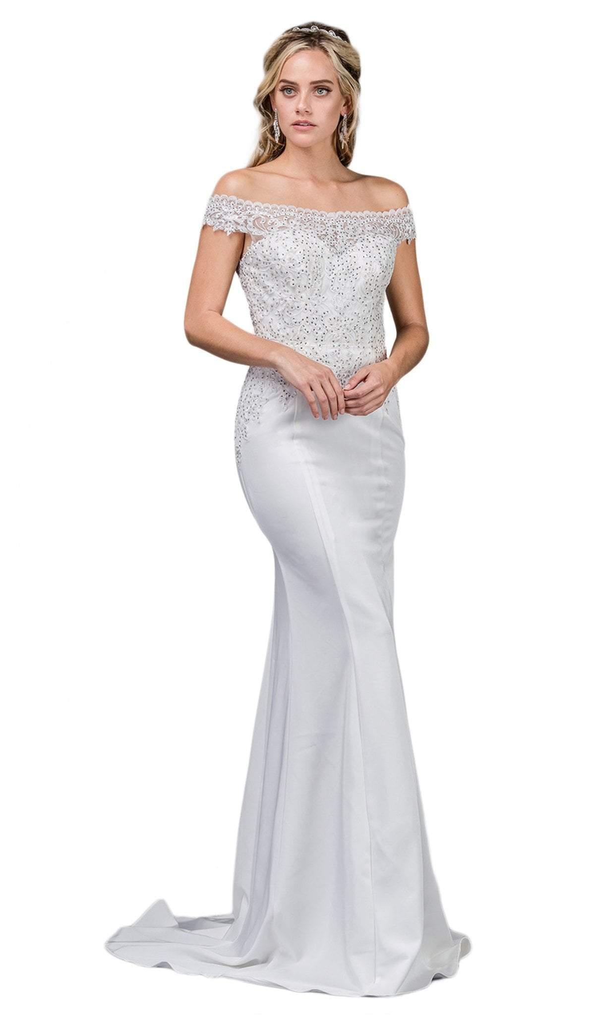 Dancing Queen - 53 Embellished Lace Off-Shoulder Trumpet Wedding Gown