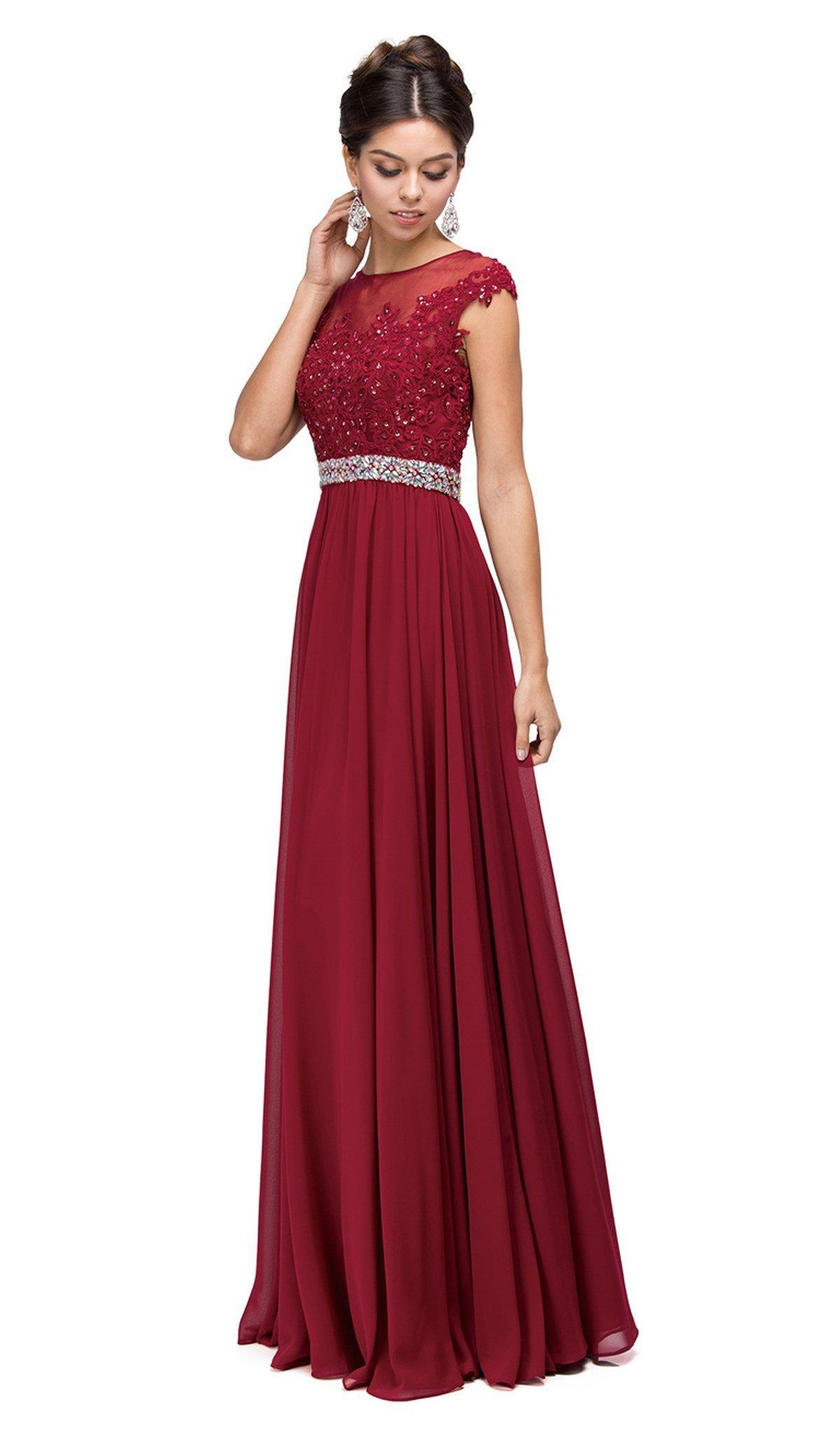 Dancing Queen - 9400 Illusion Neckline Beaded Belt A-Line Dress