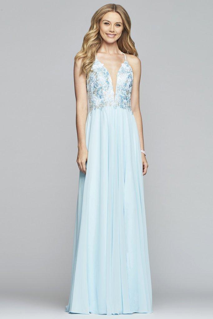 Faviana - 10201 Plunging V Neckline Halter Lace Up Back Gown