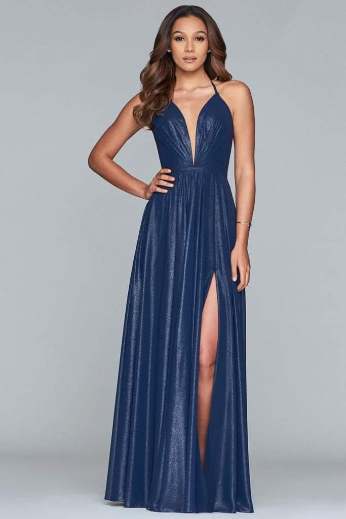 Faviana - 10264 Pleated Deep V-neck Glitter Chiffon A-line Dress