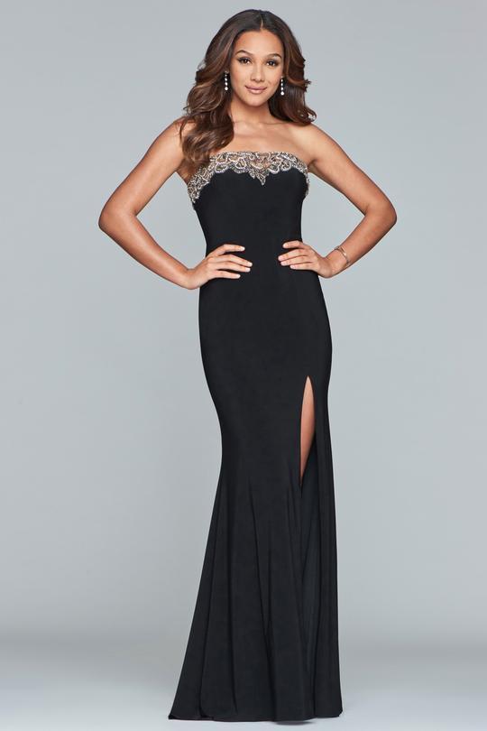 Faviana - S10200 Beaded Tulle Neckline Strapless Jersey Dress