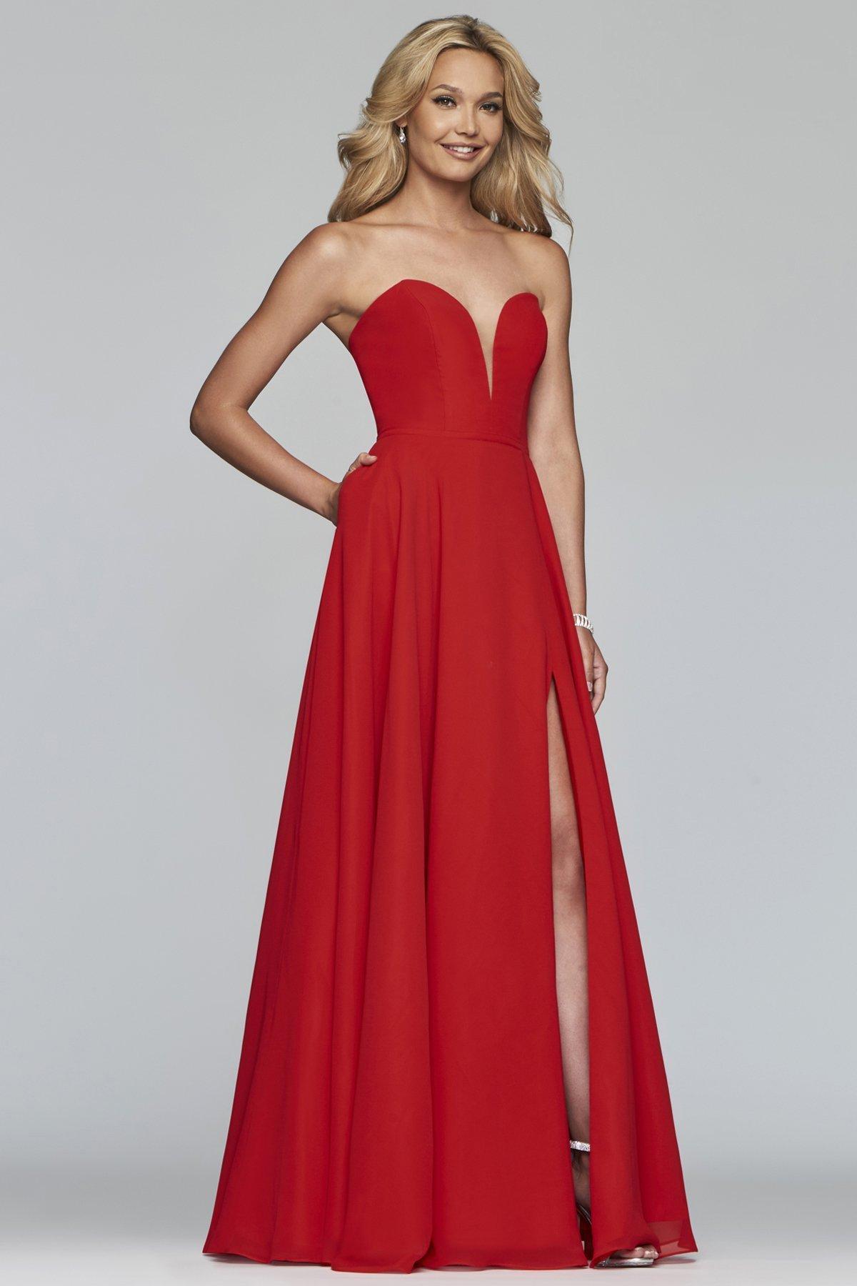 Faviana - S10232E Deep Sweetheart Chiffon A-line Dress