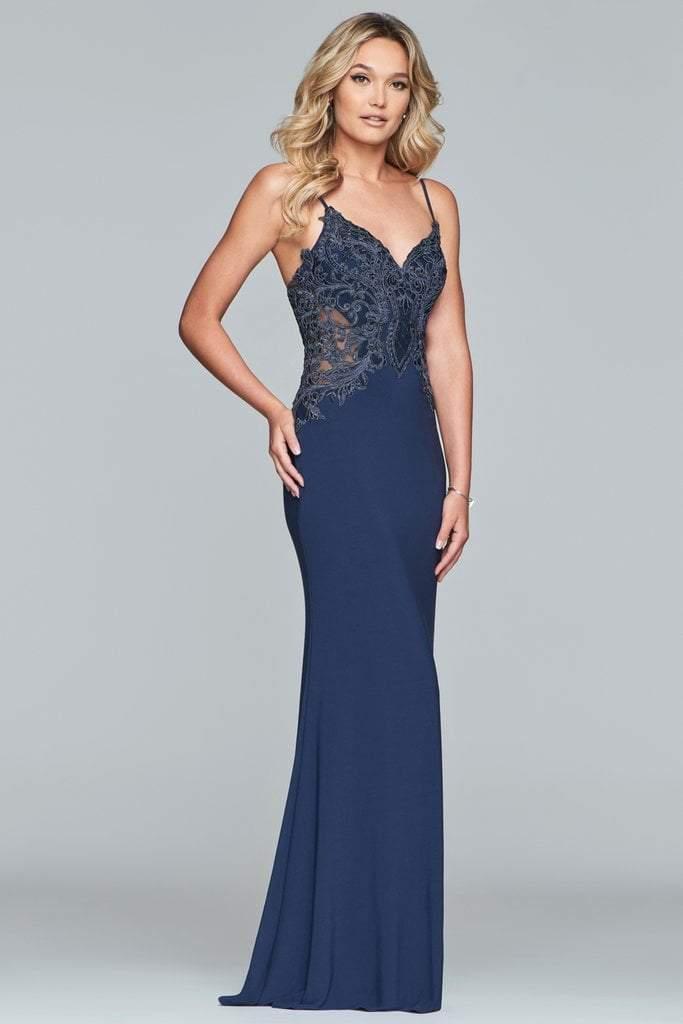 Faviana - S10292 Applique Sweetheart Jersey Sheath Dress