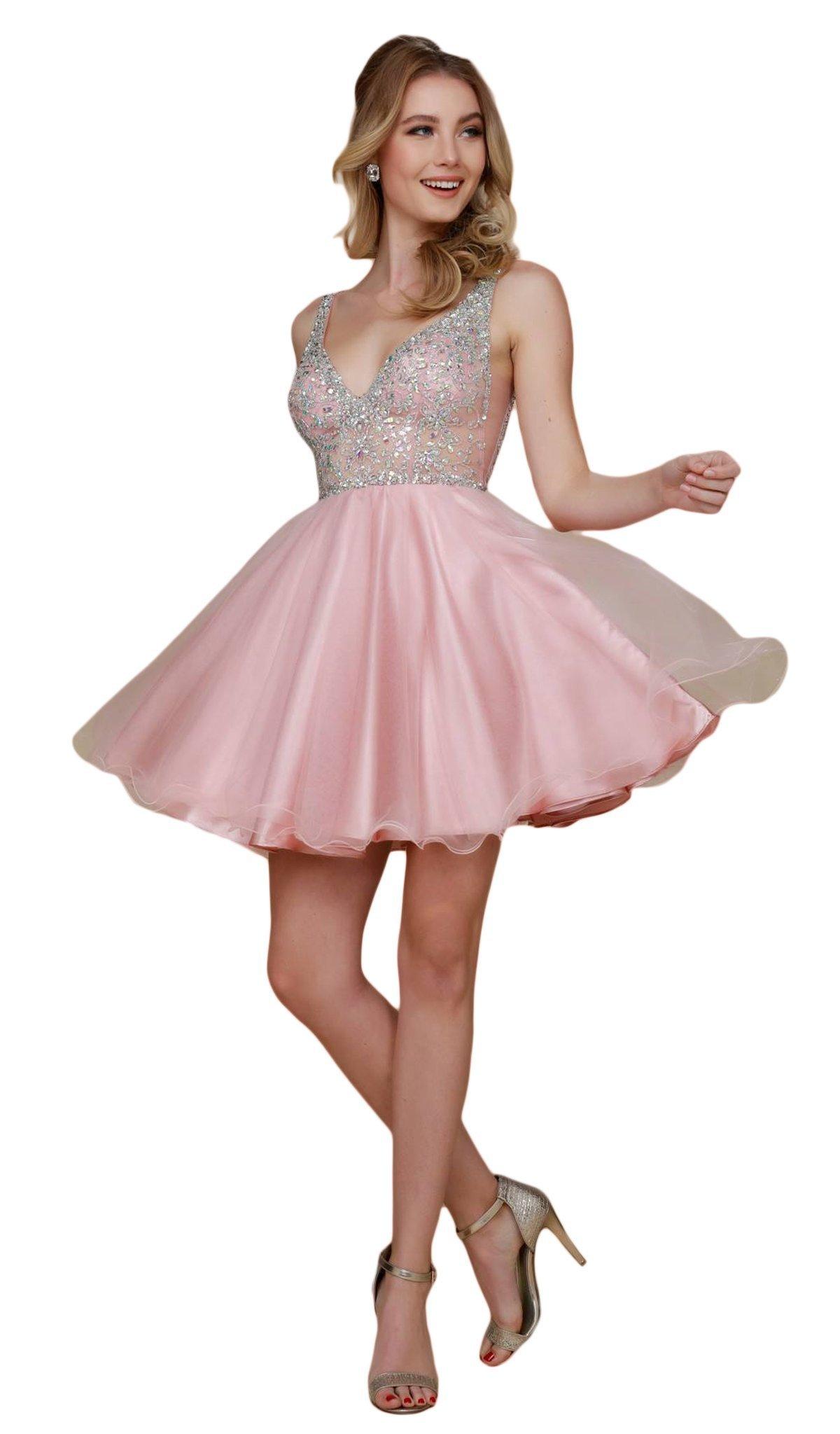 Nox Anabel - G637 Bejeweled Plunging V-neck Ruffled A-line Dress
