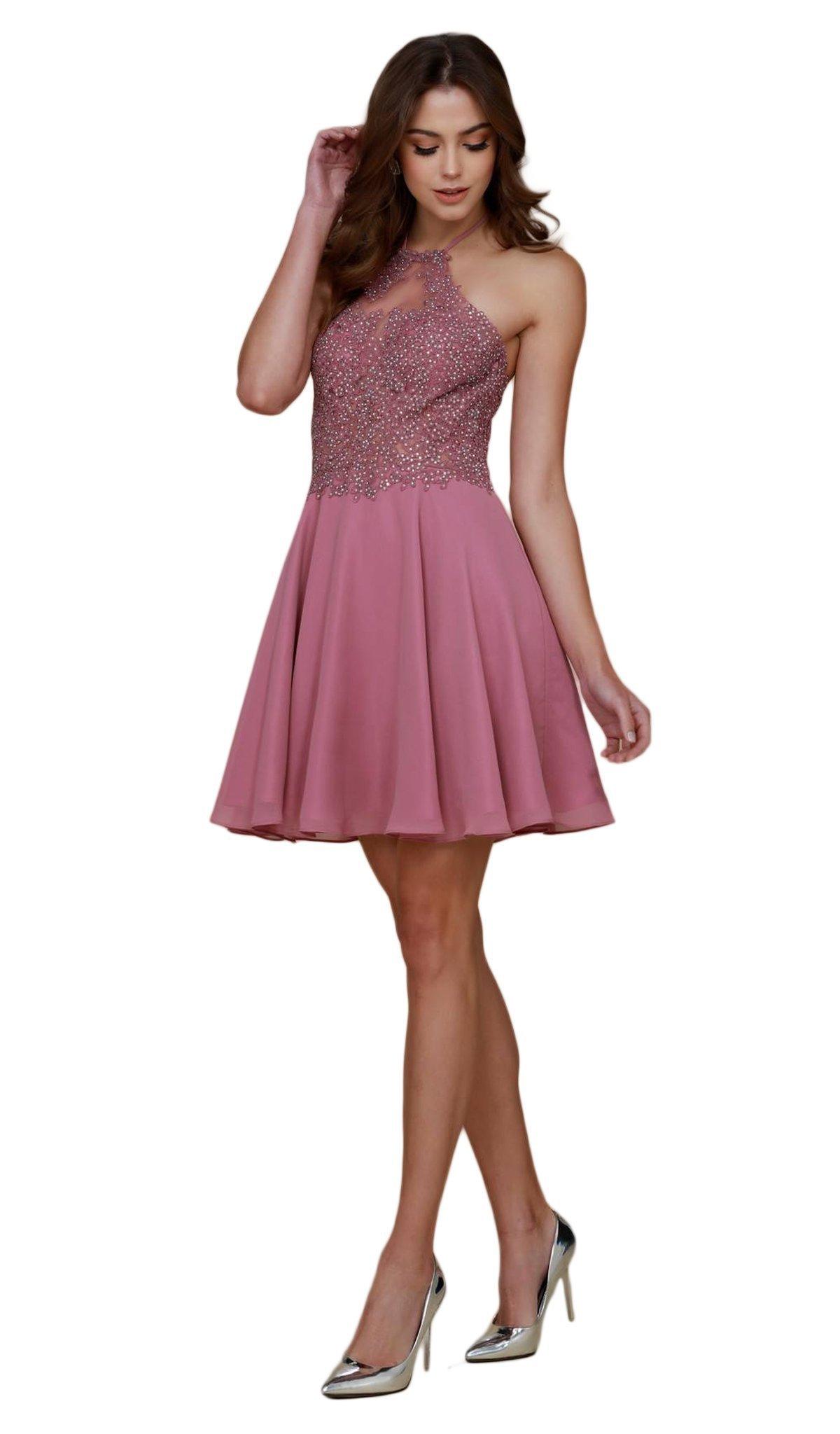Nox Anabel - G657 Applique Halter Neck A-line Dress