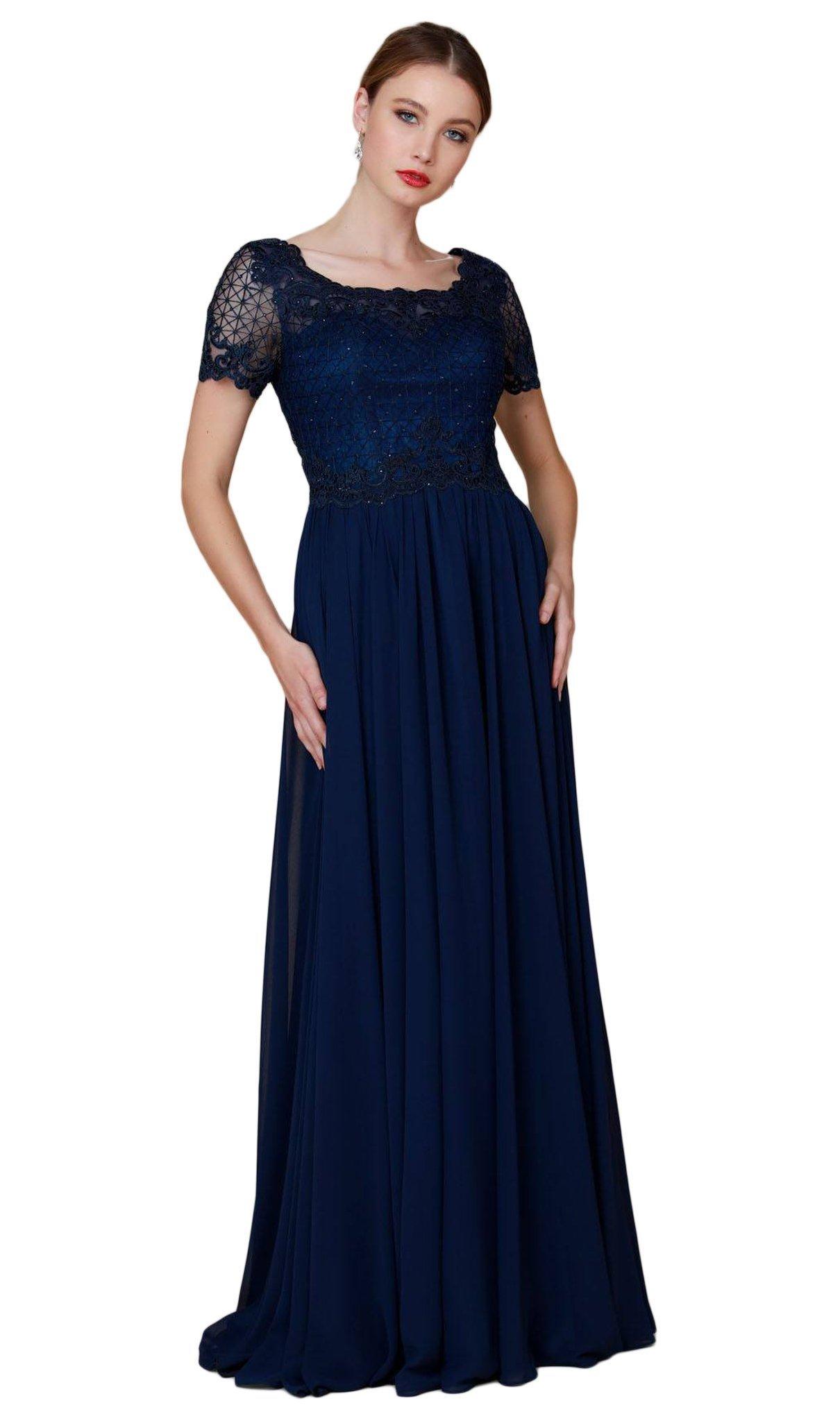 Nox Anabel - Y514 Lace Applique Short Sleeve Top Chiffon Dress