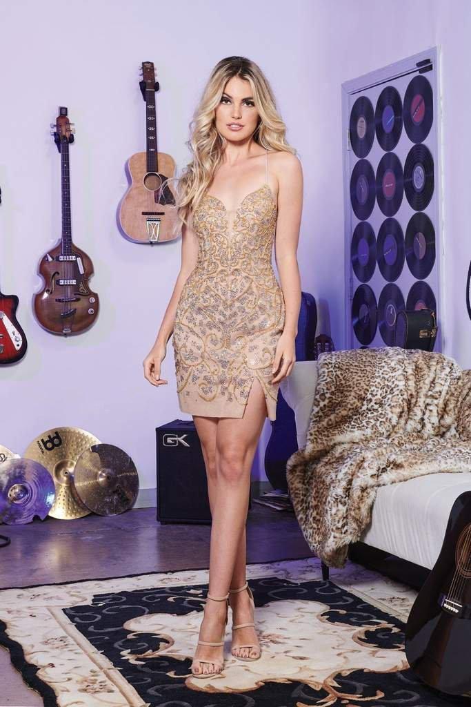 Rachel Allan - 4605 Lace Up Back Beaded Sheath Dress