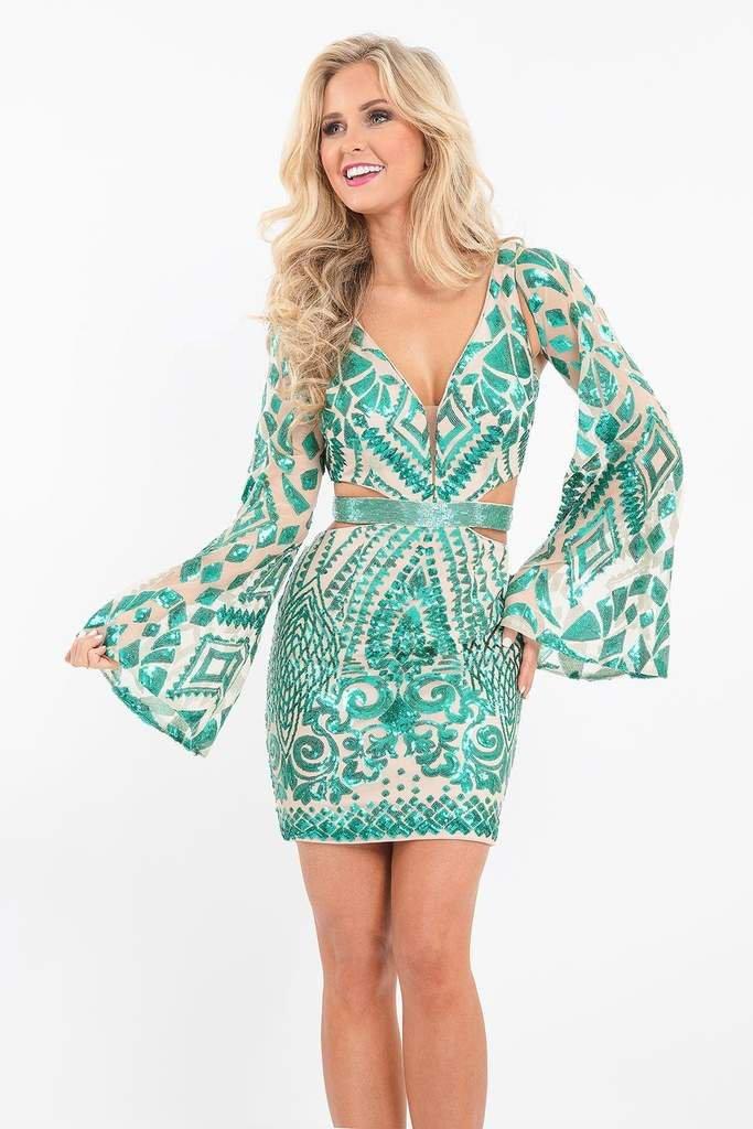 Rachel Allan - 4623 Illusion Angel Sleeve Sequined Cutout Dress