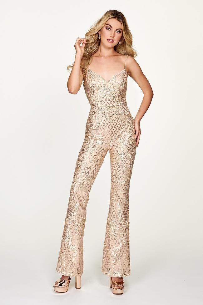 Rachel Allan - 4625 Fully Sequined Sweetheart Jumpsuit