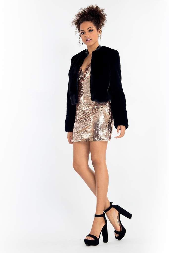 Rachel Allan - 4630 Sequined Sheath Cocktail Dress with Fur Jacket