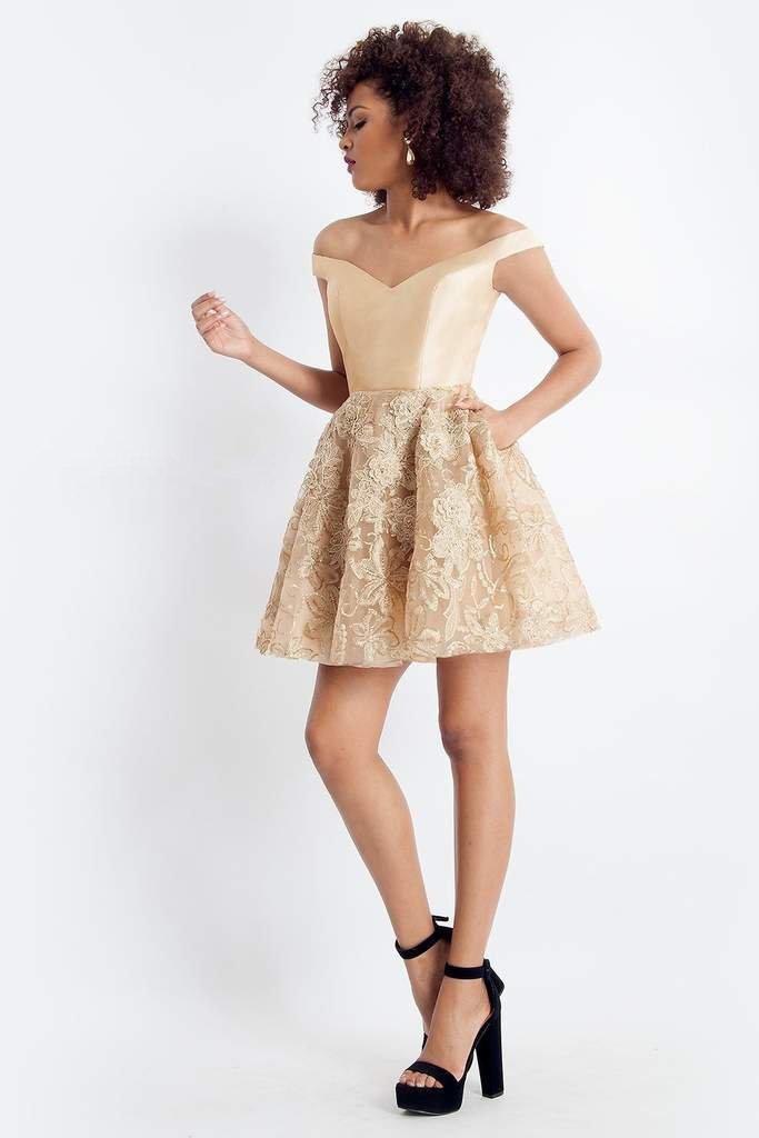 Rachel Allan - 4636 Off-Shoulder Fitted A-Line Cocktail Dress