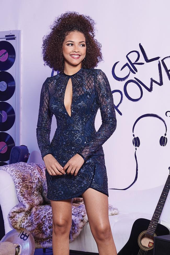 Rachel Allan - 4665 Sequined Long Sleeve Dress With Velvet Piping