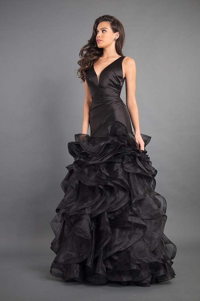 Rachel Allan Couture - 8341 Deep V-neck Ruffled Organza Mermaid Gown