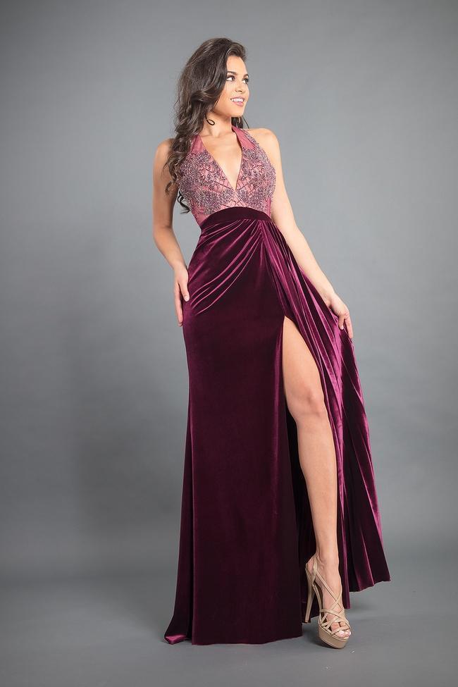 Rachel Allan Couture - 8345 Beaded Halter Velvet A-line Dress