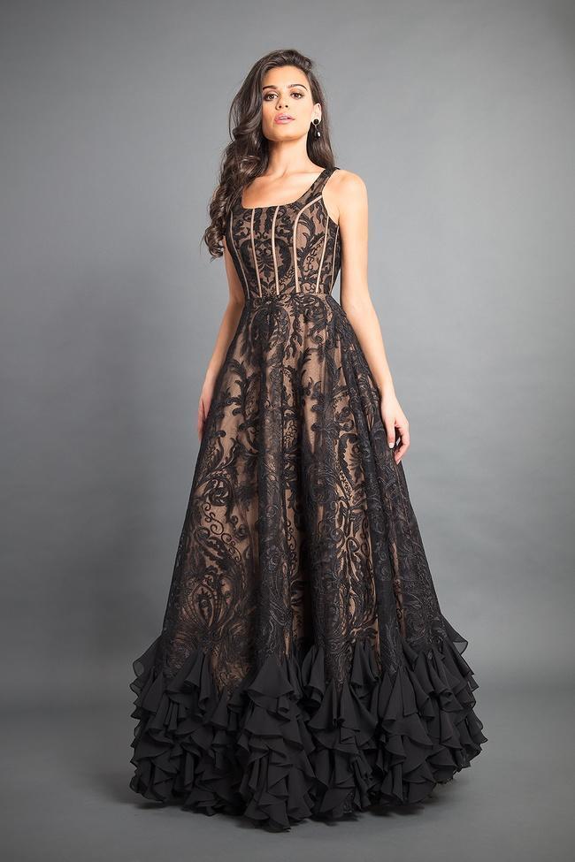 Rachel Allan Couture - 8352 Lace Scoop Chiffon A-line Gown