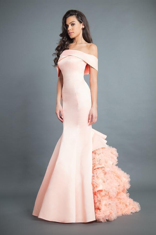 Rachel Allan Couture - 8355 Satin Off-Shoulder Ruffled Mermaid Dress