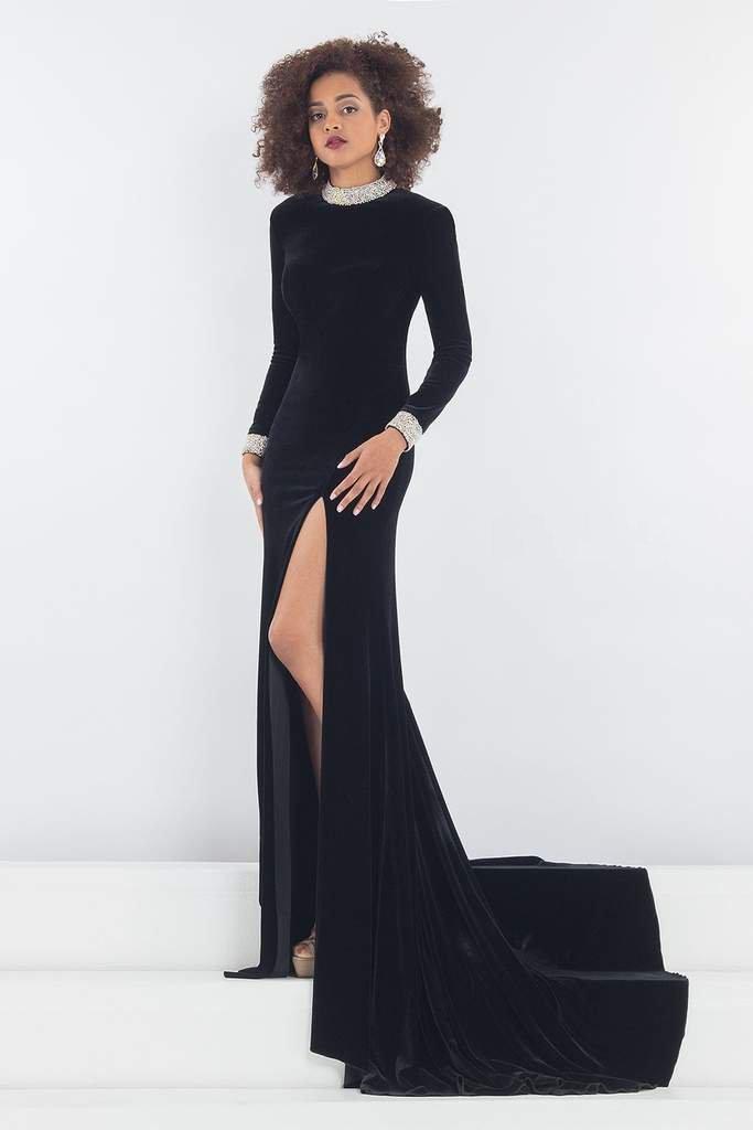Rachel Allan Prima Donna - 5031 Long Sleeve Beaded Velvet Gown