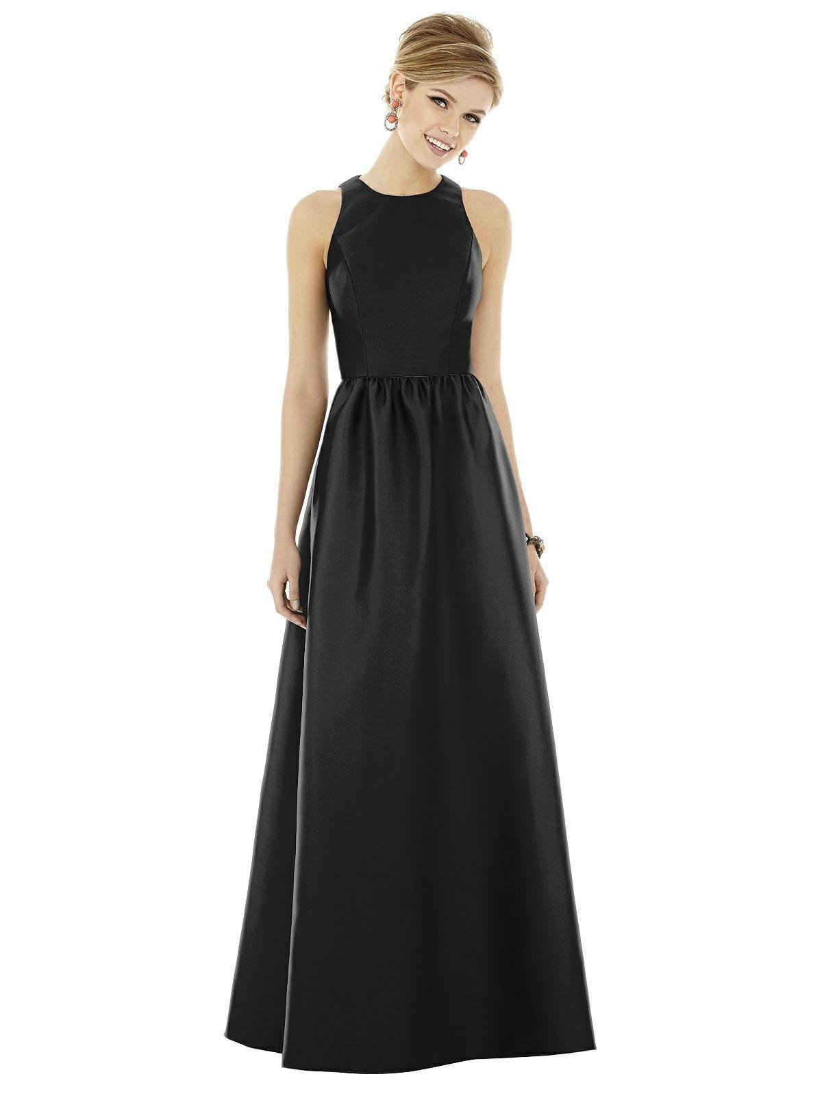 Alfred Sung - D707 Sleeveless Keyhole Back Sateen Twill Dress
